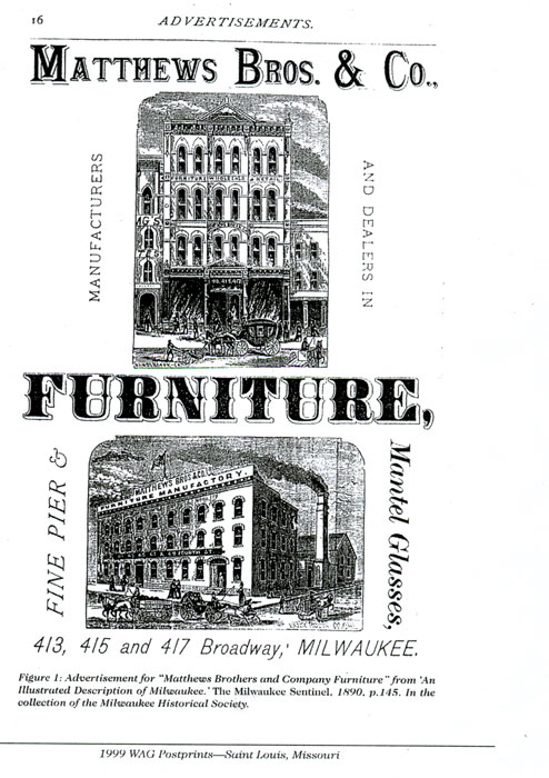 ... Matthews Brothers (view Advertisement Milwaukee Sentinel 1890), ...